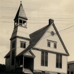 View of the church before it was moved in 1906